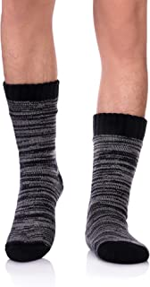 Mens Super Soft Warm Cozy Fuzzy Fluffy Thick Heavy Fleece-lined Winter Christmas gift With Grips Slipper socks
