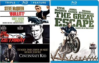 Steve McQueen The Great Escape & Bullitt / The Getaway / Cincinnati Kid Blu Ray Collection Movie Action Bundle Set