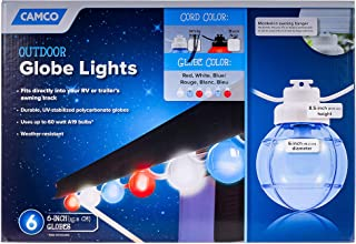 Camco 42743 Decorative RV Awning Globe Lights   6 Blue Globes on White Wire, Fits Directly into Your RV Awning Track, Great for Outdoor Events