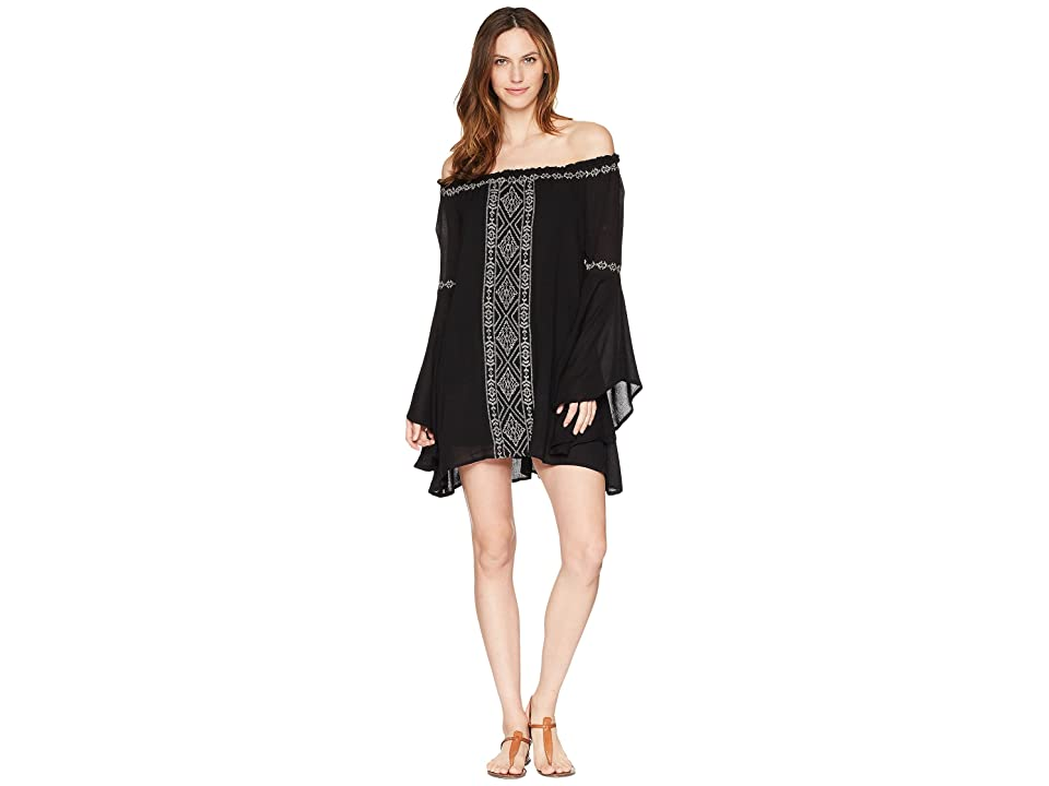 Rock and Roll Cowgirl Bell Sleeve Dress D4-5801 (Black) Women