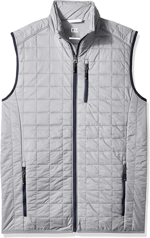 Cutter & Buck Men's Weather Resistant Primaloft Down Alternative Rainier Vest, Polished, X-Large Tall