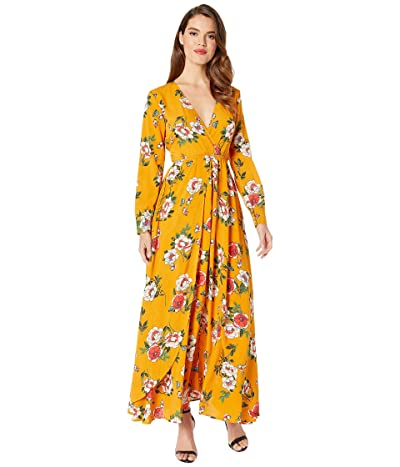 Unique Vintage Long Sleeve Farrah Maxi Dress (Mustard/Floral) Women