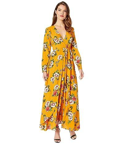 Unique Vintage Long Sleeve Farrah Maxi Dress (Mustard/Floral) Women