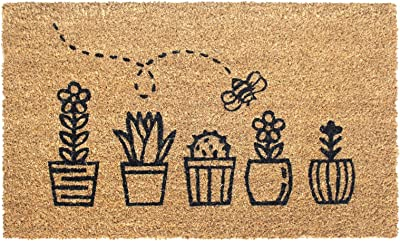 """Rugsmith Black Topiary Machine Tufted Doormat, 18"""" x 30"""", Natural"""