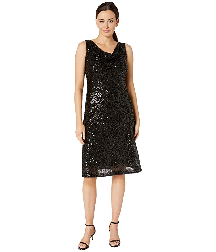 sleeveless-cowl-neck-sequin-dress by taylor