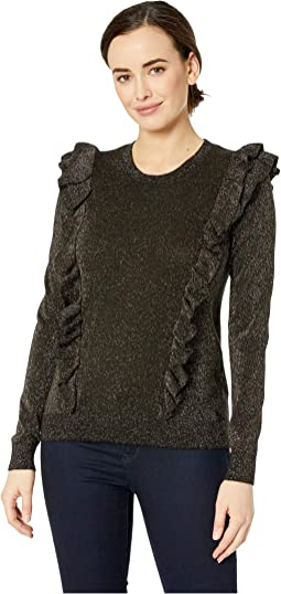 Lurex Ruffle Long Sleeve Crew