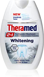 Theramed Whitening- 2 in 1 Fluoride Toothpaste & Antibacterial Mouthwash 75ml