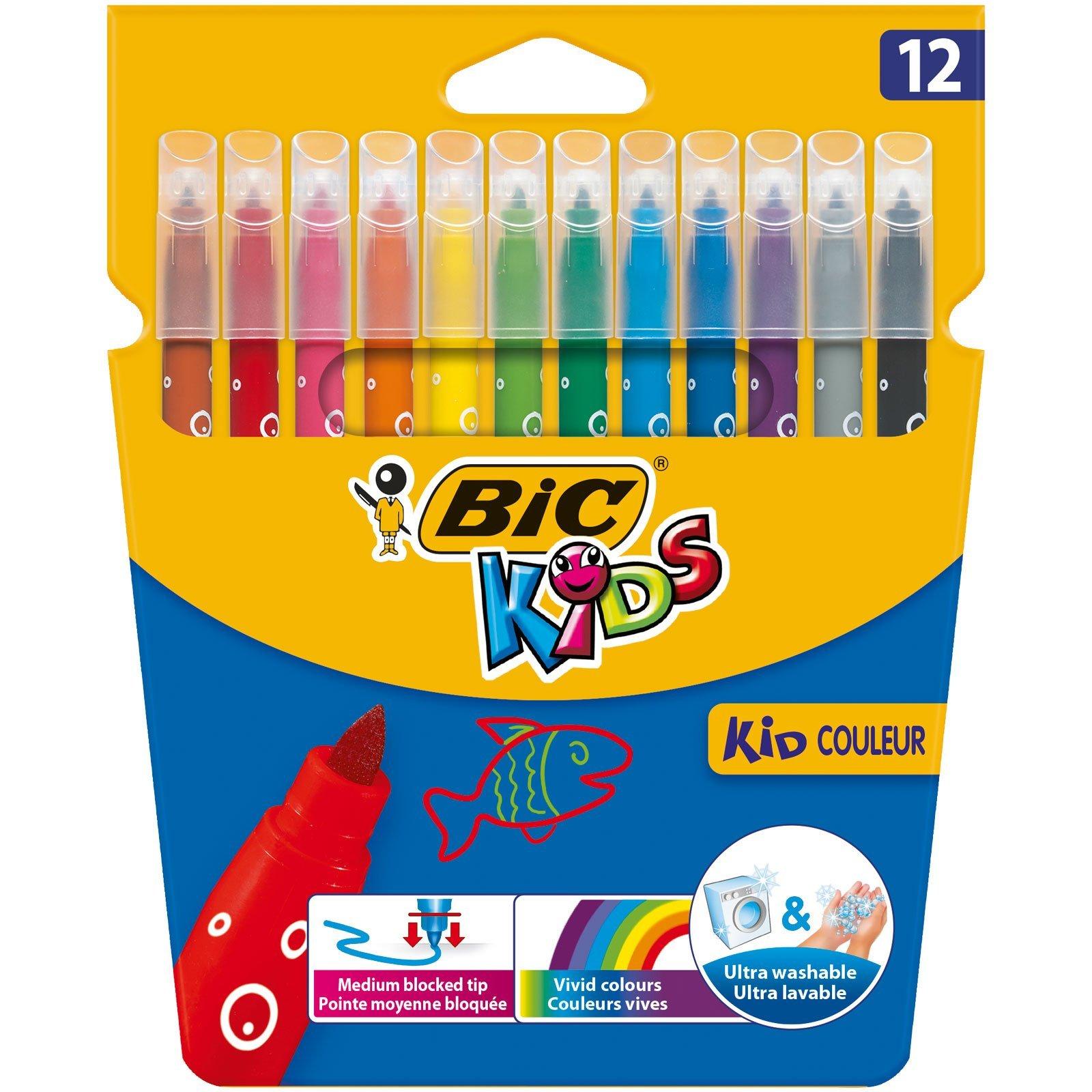 BIC Kids Kid Couleur rotuladores punta media - colores Surtidos, Blíster de 12 unidades: Amazon.es: Oficina y papelería
