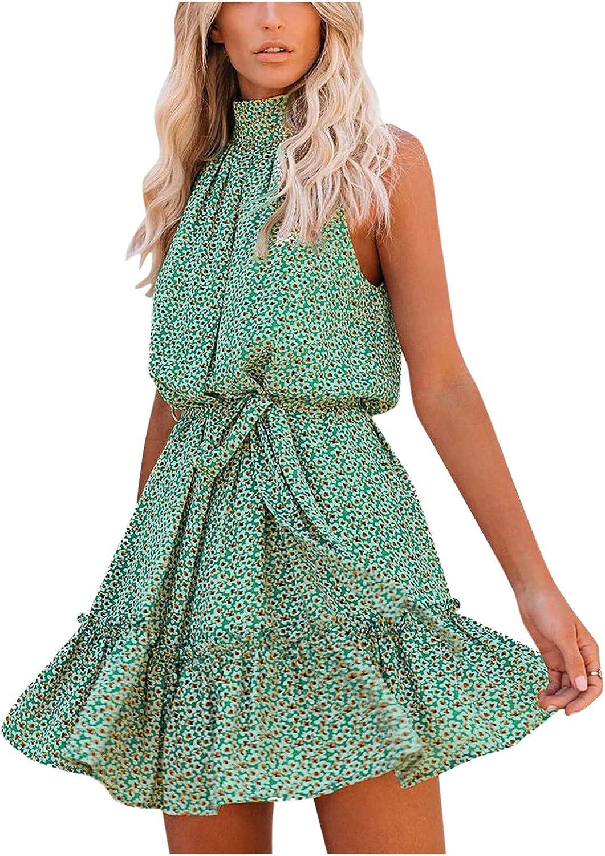 Womens Boho Dress Midi Sun Dress Sleeveless Beach Dresses for Wo
