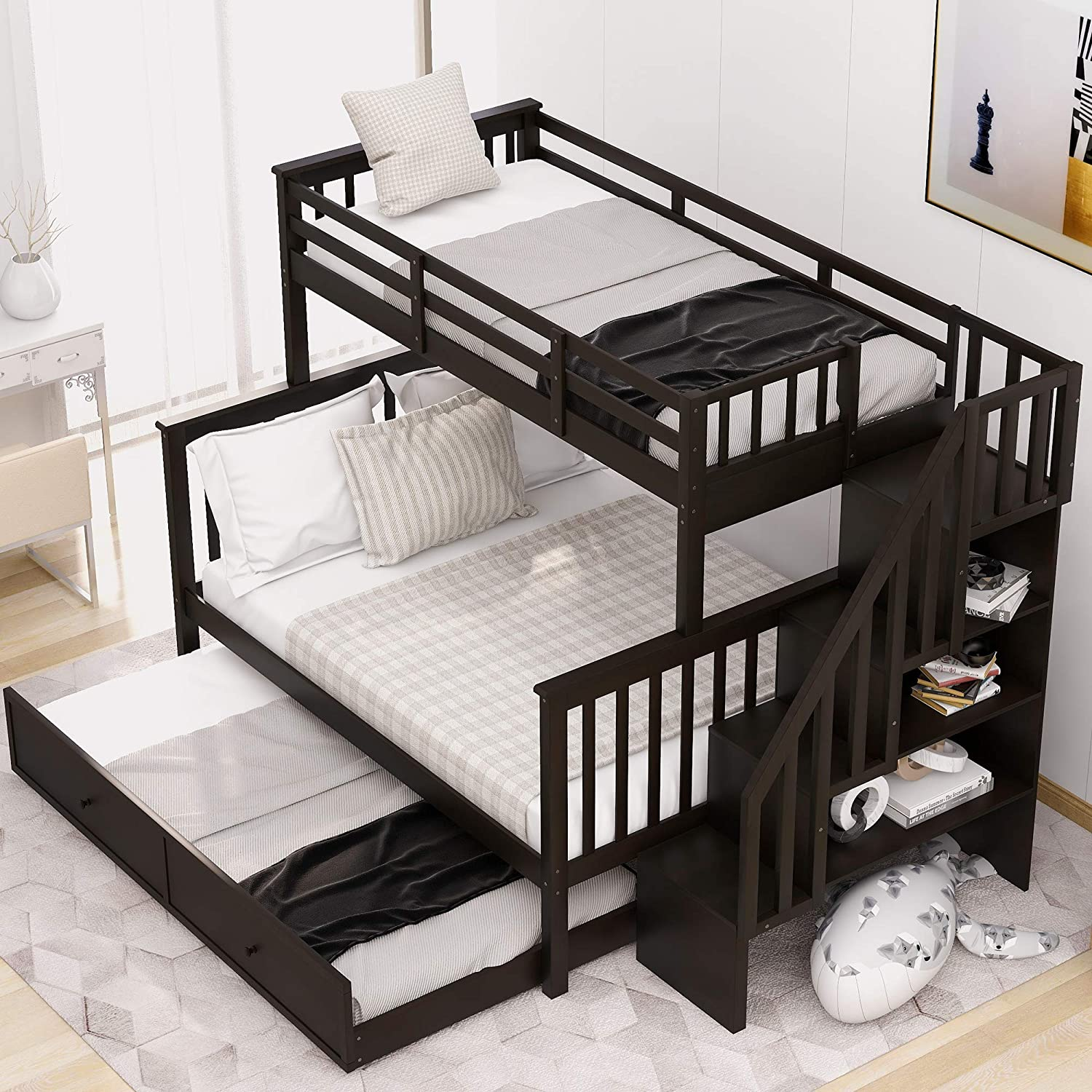 Buy Lumisol Twin Over Full Bunk Beds With Storage And Guard Rail Wood Trundle Bunk Bed For Kids Adult Online In Turkey B08crbvr4h
