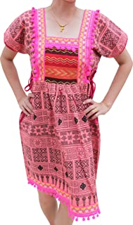 Full Funk Bright Hill Tribe Style Dress with Printed Fabric Pompoms and Hand Stitch Motif
