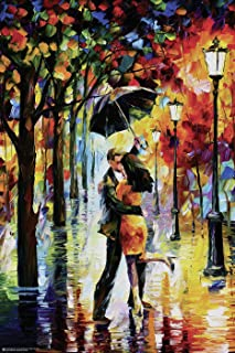 Close Up Póster de Leonid Afremov - Dance Under The Rain (61cm x 91,5cm) + 2 Marcos Transparentes con suspención