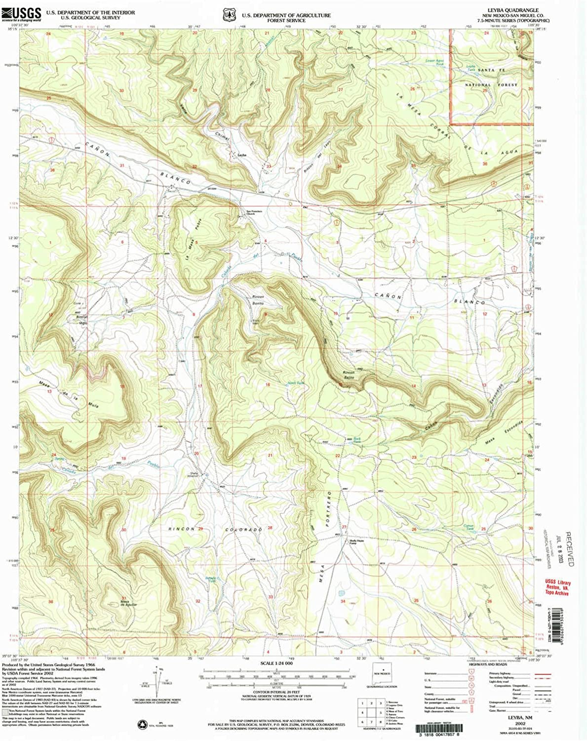 Leyba NM topo map, 1 24000 Scale, 7.5 X 7.5 Minute, Historical, 2002, Updated 2003, 26.9 x 22 in
