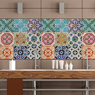 RoyalWallSkins Portuguese Tile Decals 4x4 Inch - Set of 16 - Self Adhesive Peel & Stick Vinyl Adhesive Tiles Stickers for Staircase Home Decor (Sevilla TAD160522)