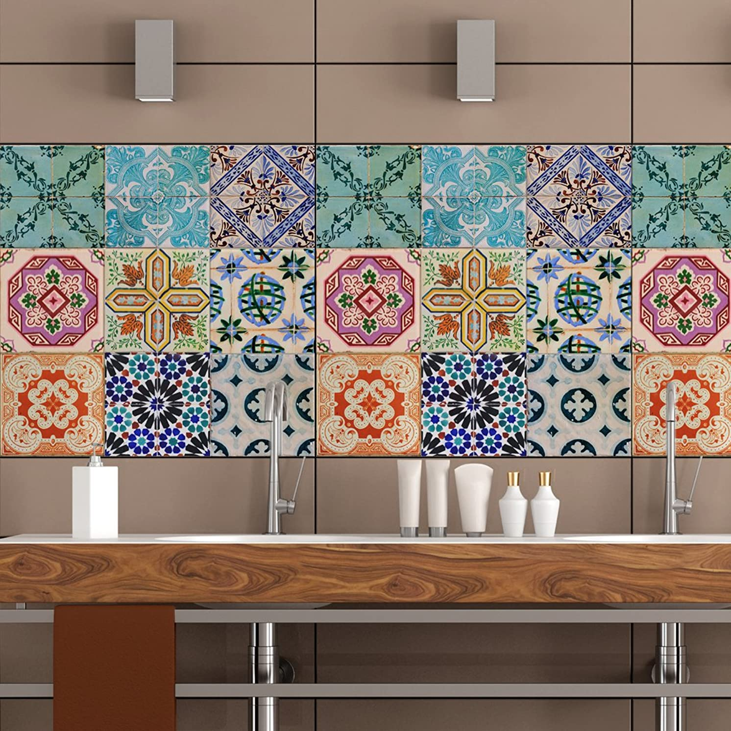 Portuguese Tiles Stickers Maceira - Pack of 16 tiles - Tile Decals Art for Walls Kitchen backsplash Bathroom (5 x 5 inches (Set of 16))