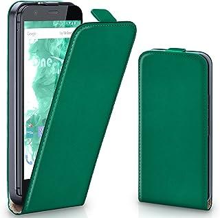 MoEx® Funda abatible + Cierre magnético Compatible con Motorola Moto G | Piel sintética, Vert foncé