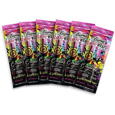 GMO-FREE BEAMER Original Vegan Hemp Wraps 1 Box 25 Pouch 100 Wraps