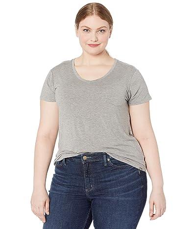 Prana Plus Size Foundation Short Sleeve Top (Heather Grey) Women