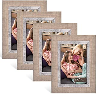 4×6 Picture Frames Set of 4 Pack – Rustic Farmhouse Distressed Frame –..