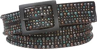 Snap On Tiny Multiple Turquoise Rivet Circle Studded Leather Jean Belt