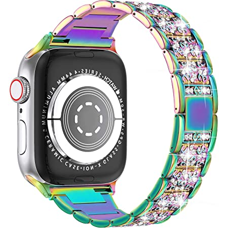 LELONG for Apple Watch Band 38mm 40mm 42mm 44mm SE Series 6 Series 5 4 3 2 1 , Bling Replacement Bracelet iWatch Band, Diamond Rhinestone Stainless Steel Metal Wristband Strap