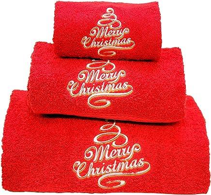 e34e91b8b4 BgEurope Natale set di 3 asciugamani da bagno ricamato rosso – ref. Merry  Christmas