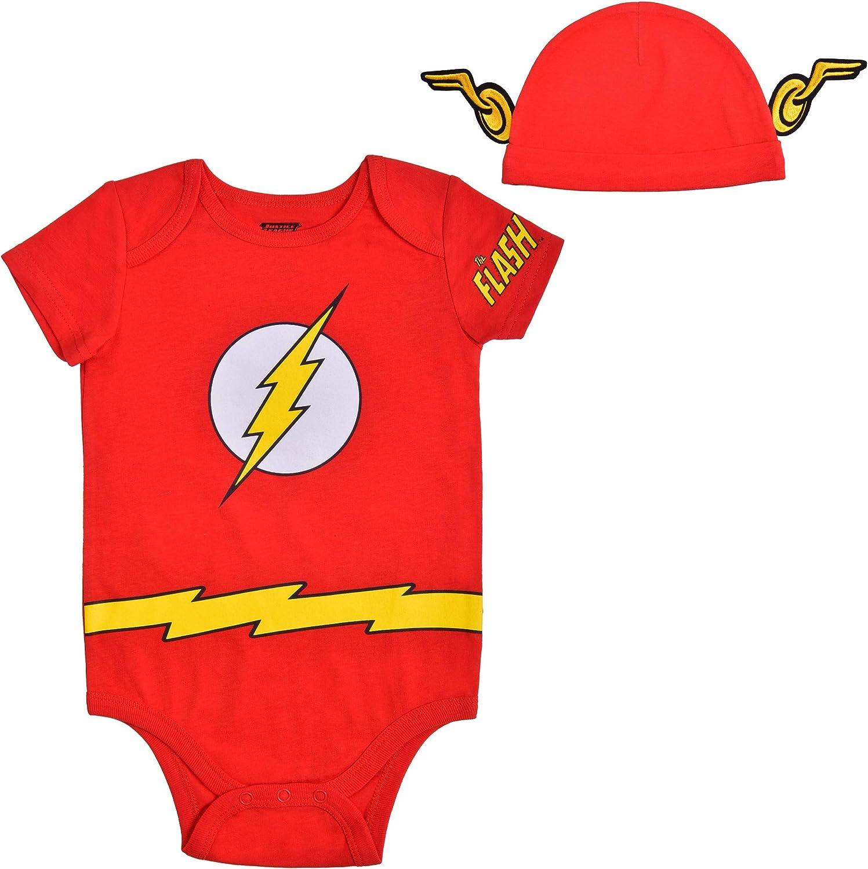 Warner Bros. The Flash Creeper Set Short Sleeve Creeper with Cap, The Flash Superhero Bodysuit, Baby Romper