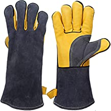 Heat & Fire Resistant Welding Leather Gloves with Kevlar Stitching, Mitts for Fireplace, Stove, Oven, Grill, Welding, BBQ, Mig, Pot Holder, Animal Handling, Yellow-Grey 14 inches