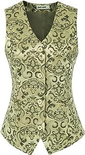 GRACE KARIN Womens Waistcoat Vintage Steampunk Dressy Jacquard Jacket