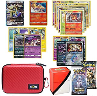 Totem World Pokemon Cards GX Lot with Poke Ball Theme Carrying Case! Includes 1 GX Card Guaranteed, 2 Booster Pack, 5 Rares, 5 Holos, 20 Regular Pokemon Cards, and Deck Box