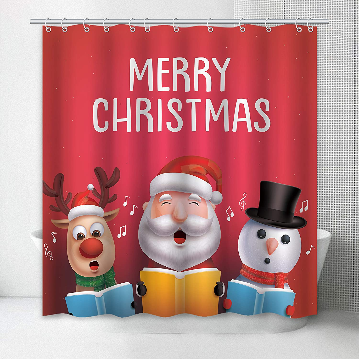 Standard 72X72inch Eightree Christmas Shower Curtain Santa and ...