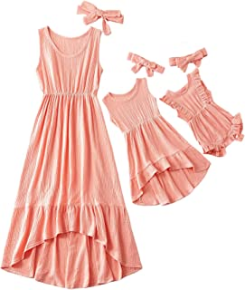 Mommy and Me Matching Dresses Solid Color Stitching Irregular Hemline Maxi Dresses, Family Skirt for Mother Daughter Baby ...