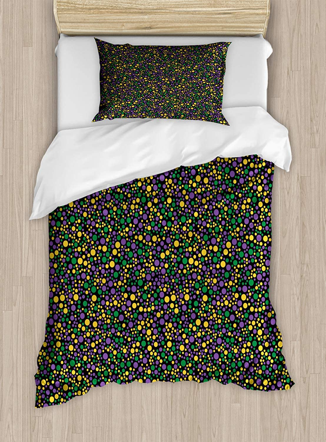 VpinkLVHOME Polka Dot Duvet Cover Set Twin Size colorful Continuous Spots Festive Theme,Kids BeddingDoes Not Shrink Or Wrinkle,Jade Green Earth Yellow purple and Charcoal Grey