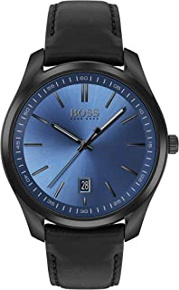 Hugo Boss Black Men's Blue Dial Black Leather Watch - 1513727