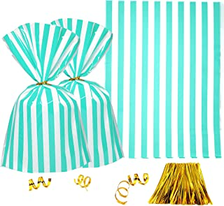 Clear Plastic Cellophane Treat Bags - Turquoise White Stripes Party Favors Cello Bags Wedding Baby Shower Birthday Party Cookie Candy Treat Favors Bags, 200pc