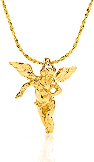 Pendant Necklace [ Medium Guardian Angel ] 20X More 24k Plating Than Other Religious Necklaces Charms - Comes with 18 inch Twisted Nugget Chain - Free Lifetime Replacement Guarantee