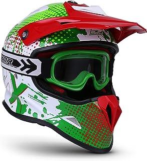 Soxon SKC-33 Kinder-Cross-Helm, ECE Schnellverschluss SlimShell Tasche, XXS 49-50cm, Fusion Grün