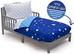 Toddler Bedding Set | Boys 4 Piece Collection | Fitted Sheet, Flat Top Sheet w/ Elastic bottom, Fitted Comforter w/ Elastic bottom, Pillowcase | Delta Children | Boys Starry Night | Blue Stars