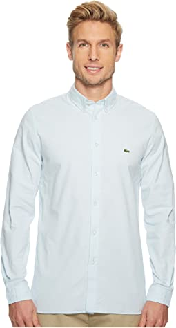 Lacoste Long Sleeve Solid Oxford Stretch Button Down Collar Slim