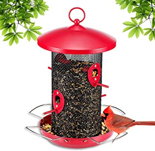 Birdream Bird Feeder Hanging Wild Bird Seed Feeder with 4 Ports Station Metal Bird Feeders for Small Birds Gardens Outdoor Decoration Feeder with Roof for Mixed Seed Blends Niger Seeds Sunflower Heart