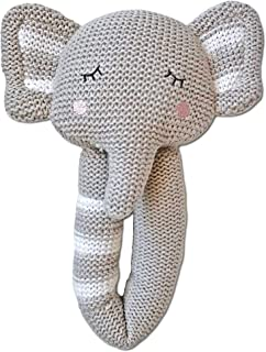 Living Textiles Baby Knitted Toy Rattle - Theodore Elephant - Premium 100% Cotton Super Cute Soft & Fun Stuffed Animal Cha...