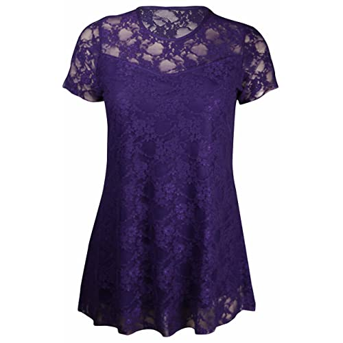 8c0c8c6b271b27 New Womens Floral Lace Short Sleeve Ladies Flower Lined Patterned Stretch  T-Shirt Tunic Party