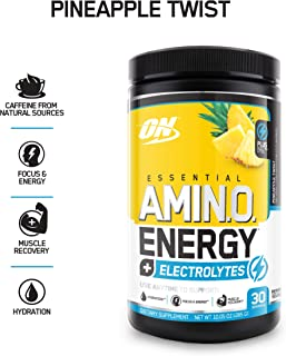 OPTIMUM NUTRITION ESSENTIAL AMINO ENERGY + Electrolytes, Pineapple Twist, Keto Friendly BCAAs, Preworkout and Essential Amino Acids, 10.05 Ounce (Pack of 1)