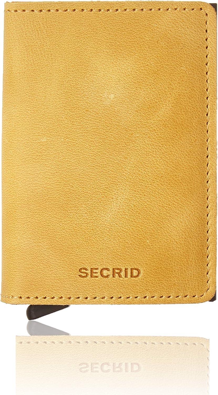 Secrid - Slim Wallet Genuine Vintage Leather RFID Safe Card Case for max 12 Cards (Ochre)