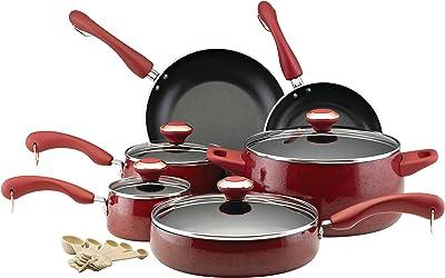 Paula Deen Signature Nonstick Cookware Pots and Pans Set, 15 Piece, Red