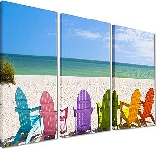Designart Adirondack Beach Chairs-Seashore Photo Canvas Art Print-36x28in-Multipanel 3 Piece, 36x28-3 Panels, Blue