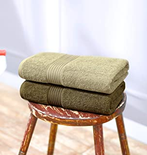 Swiss Republic 600 GSM Made Ring Spun Soft Cotton Doublestitch Line Bath Towels (Fossil & Plaza Taupe) - Set of 2: Home & Kitchen