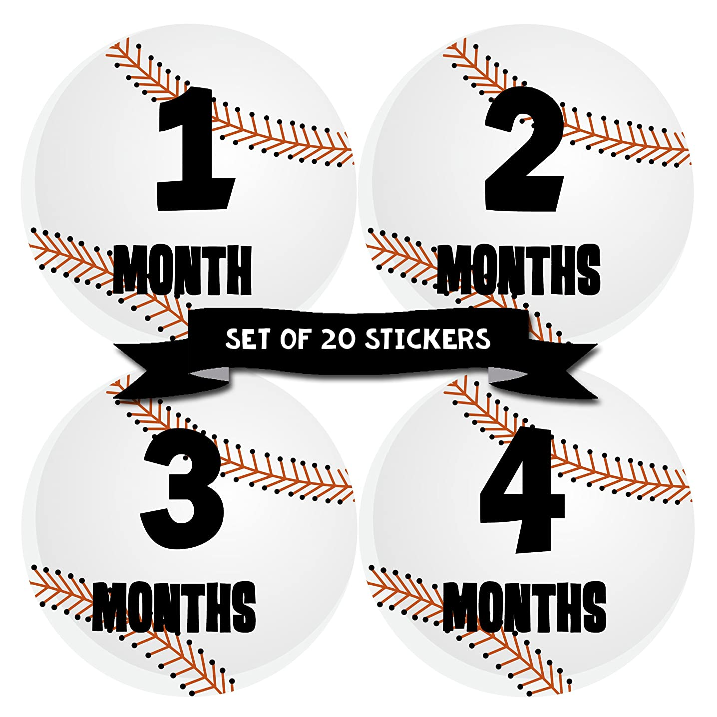 Months In Motion Baby Monthly Milestone Stickers | First Year Set of Baby Boy Month Stickers for Photo Keepsakes | Shower Gift | Infant Photo Prop for First Year| Set of 20| Baseball Sports