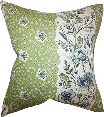The Pillow Collection Elske-Funda de cojín Floral, algodón, Verde, 9525 x 9525 x 3330 cm