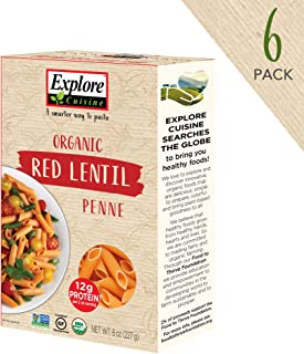 Explore Cuisine Organic Red Lentil Penne (6 Pack) - 8 oz - High Protein, Gluten Free Pasta, Easy to Make - USDA Certified Organic, Vegan, Kosher, Non GMO - 24 Total Servings